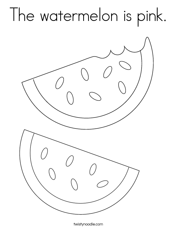 The watermelon is pink. Coloring Page