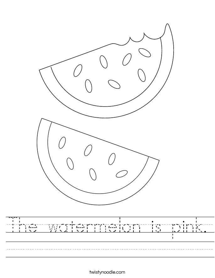 The watermelon is pink. Worksheet