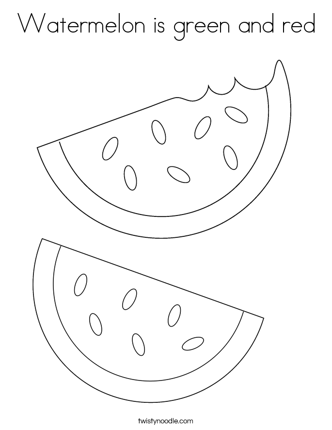 Watermelon is green and red Coloring Page