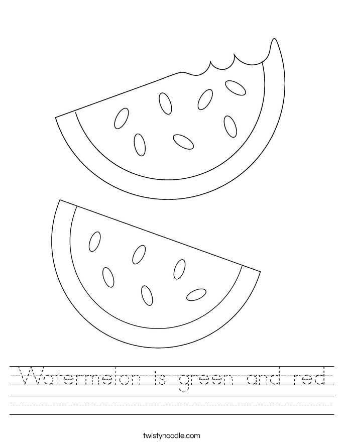 Watermelon is green and red Worksheet