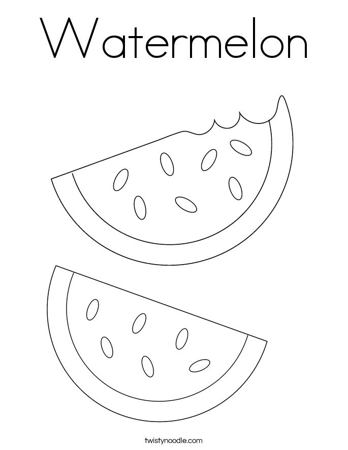 Watermelon Coloring Page Twisty Noodle