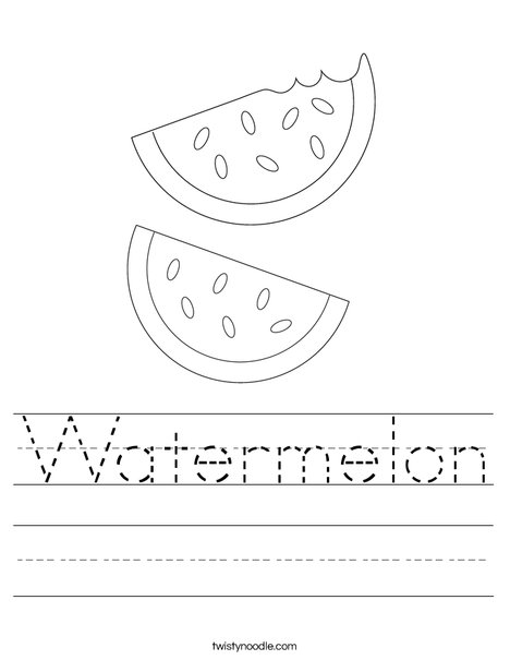 printable watermelon coloring pages - watermelon worksheet twisty noodle