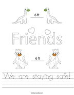 We are staying safe Handwriting Sheet