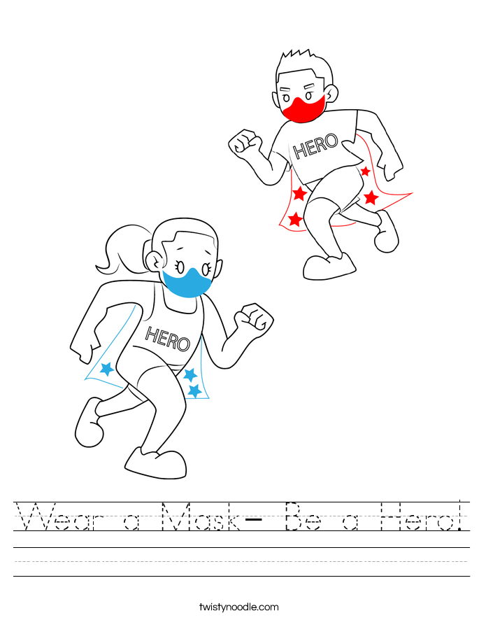 Wear a Mask- Be a Hero! Worksheet