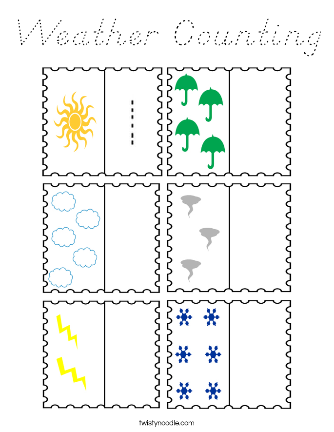 Weather Counting Coloring Page