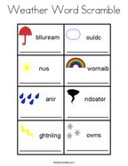 Weather Word Scramble Coloring Page