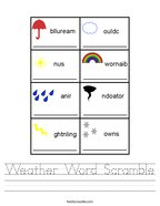 Weather Word Scramble Handwriting Sheet