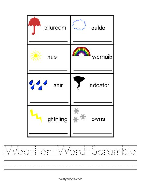 picture about Printable Word Scrambles named Temperature Term Scramble Worksheet - Twisty Noodle