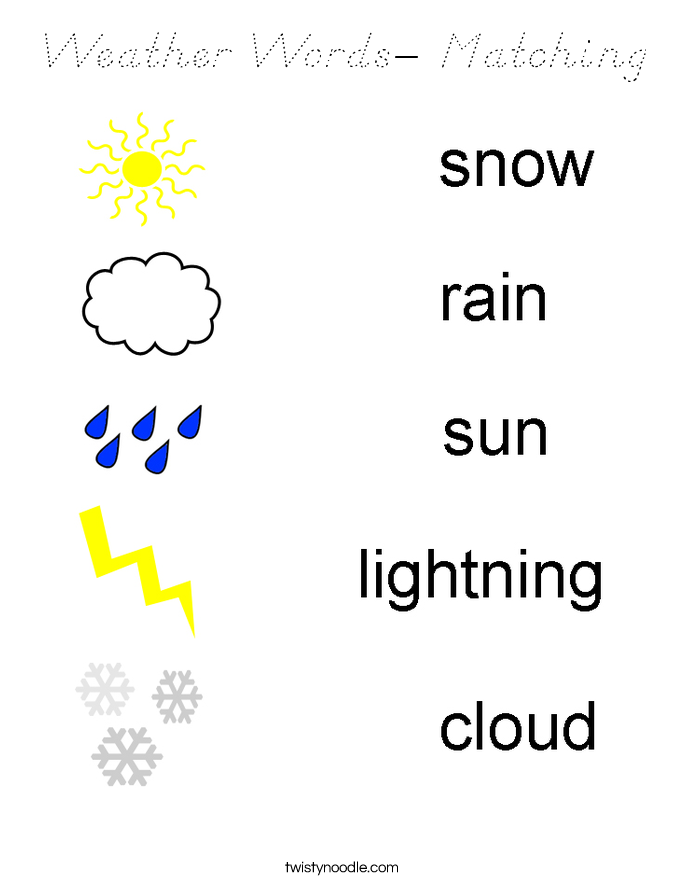 Weather Words- Matching Coloring Page