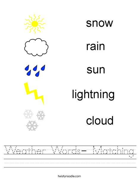 Weather Words- Matching Worksheet