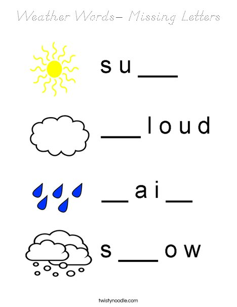 Weather Words- Missing Letters Coloring Page