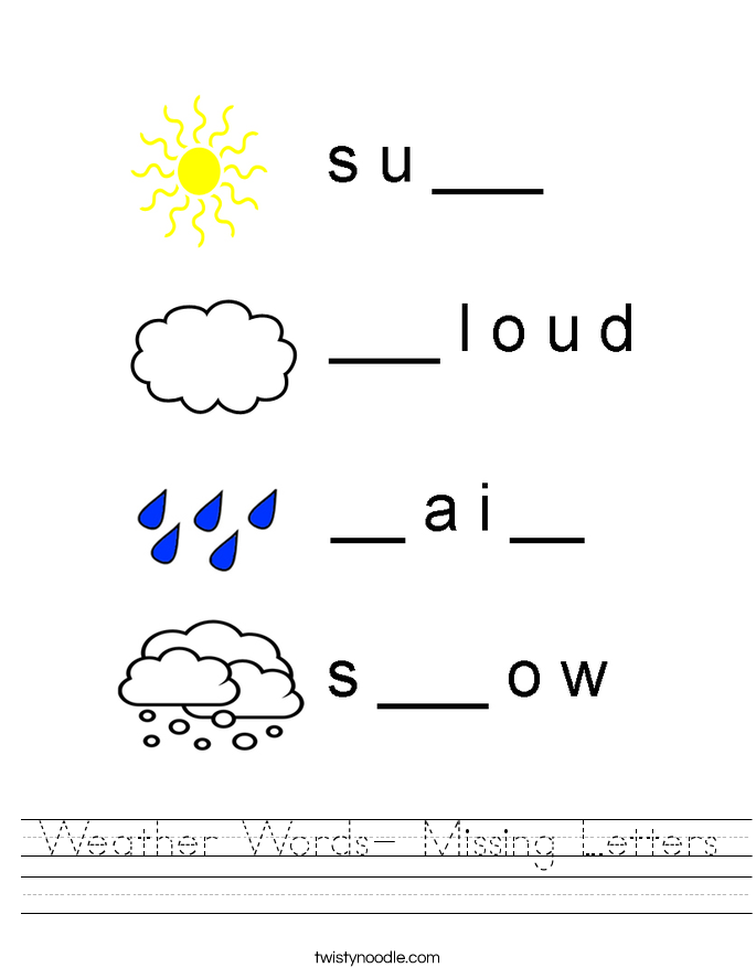 Weather Words- Missing Letters Worksheet