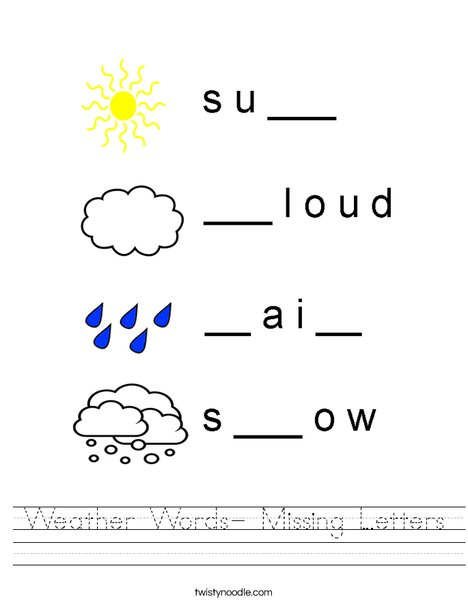 weather words missing letters worksheet twisty noodle. Black Bedroom Furniture Sets. Home Design Ideas