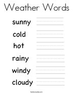 Weather Words Coloring Page