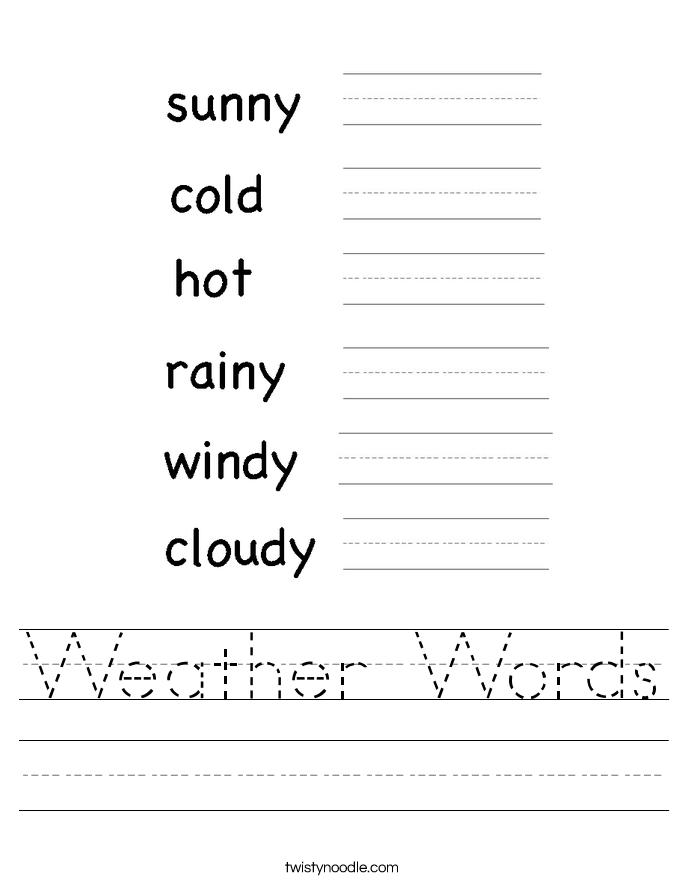 Weather Words Worksheet