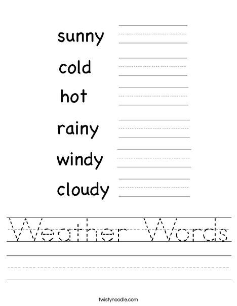 weather words worksheet twisty noodle. Black Bedroom Furniture Sets. Home Design Ideas