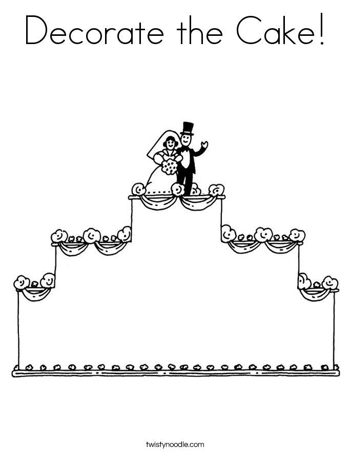 Decorate the Cake! Coloring Page