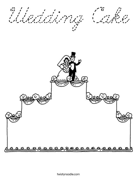 Wedding Cake with topper Coloring Page