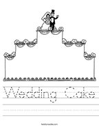 Wedding Cake Handwriting Sheet