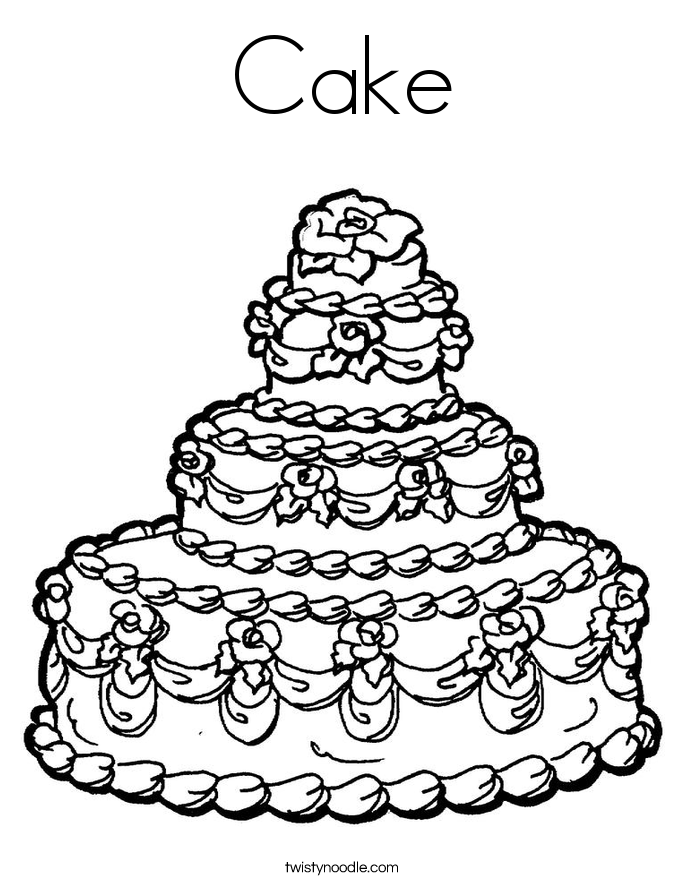 Pictures Of Cake To Colour In : Cake Coloring Page - Twisty Noodle
