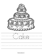 Cake Handwriting Sheet