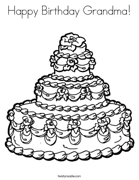 grandmother birthday coloring pages | Happy Birthday Grandma Coloring Page - Twisty Noodle