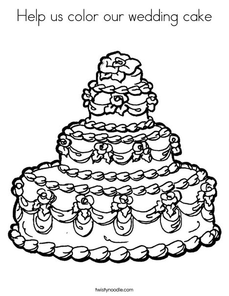 Help us color our wedding cake Coloring Page Twisty Noodle
