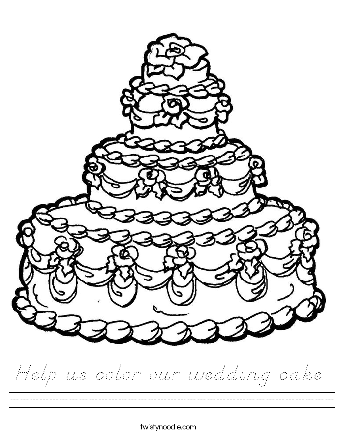 Help us color our wedding cake Worksheet
