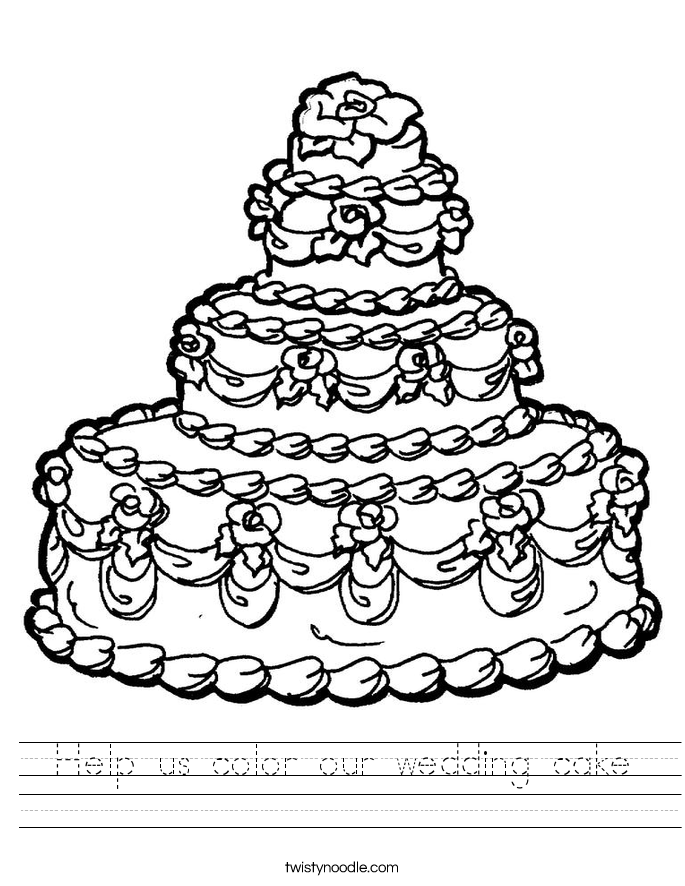 Help us color our wedding cake Worksheet