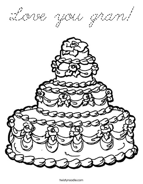 Wedding Cake Coloring Page