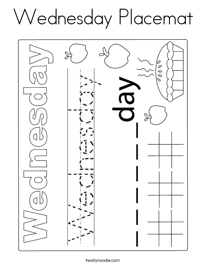 Wednesday Placemat Coloring Page