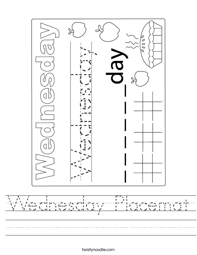 Wednesday Placemat Worksheet