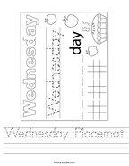 Wednesday Placemat Handwriting Sheet