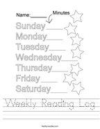 Weekly Reading Log Handwriting Sheet
