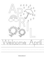 Welcome April Handwriting Sheet