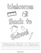 Welcome Back to School Handwriting Sheet