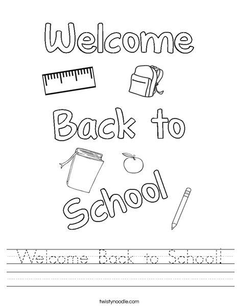 Welcome Back To School Worksheet Twisty Noodle