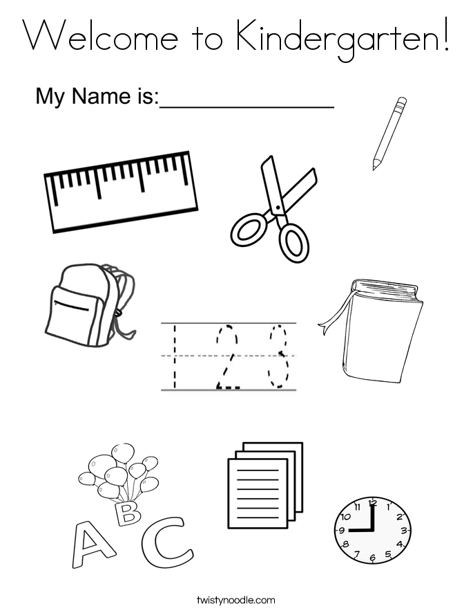 welcome to kindergarten coloring page - Kindergarten Coloring Page