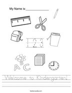 Welcome to Kindergarten Handwriting Sheet