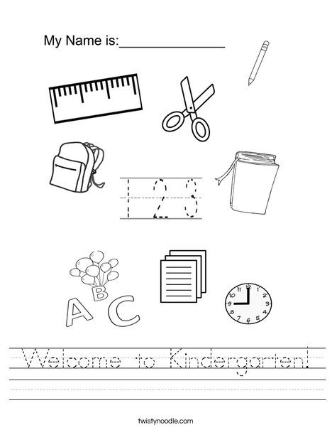 Welcome To Kindergarten Worksheet Twisty Noodle