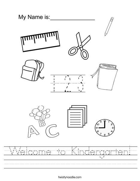 math worksheet : wel e to kindergarten worksheet  twisty noodle : School Worksheets For Kindergarten