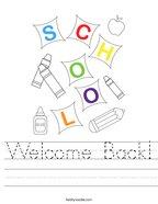 Welcome Back Handwriting Sheet