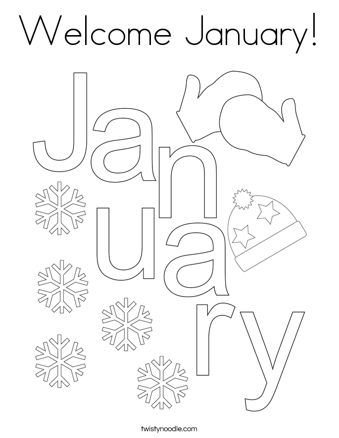 Welcome January! Coloring Page