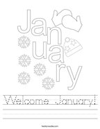 Welcome January Handwriting Sheet