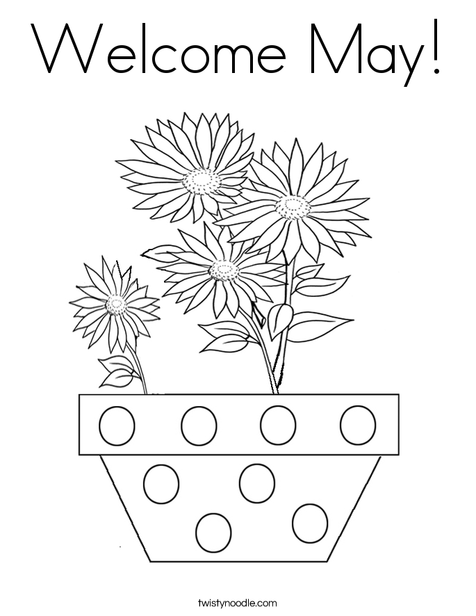 printable may flowers coloring pages | Welcome May Coloring Page - Twisty Noodle