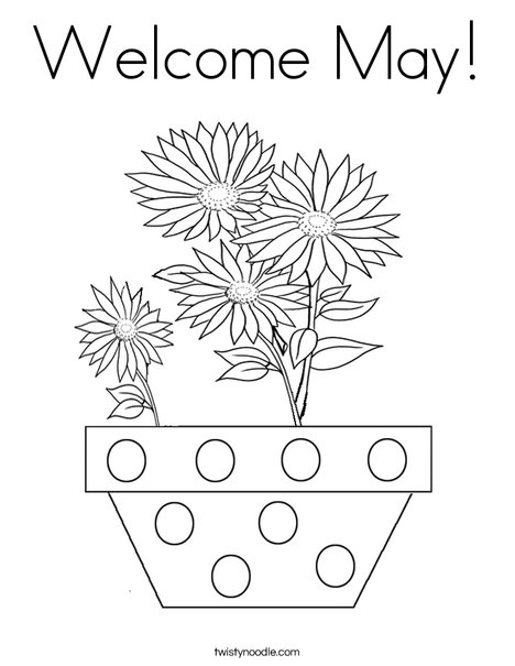 Welcome May Coloring Page Twisty Noodle