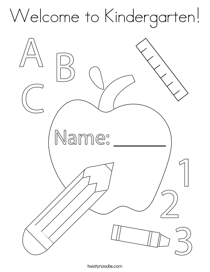 Welcome to Kindergarten! Coloring Page
