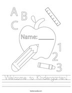 Welcome to Kindergarten Handwriting Sheet