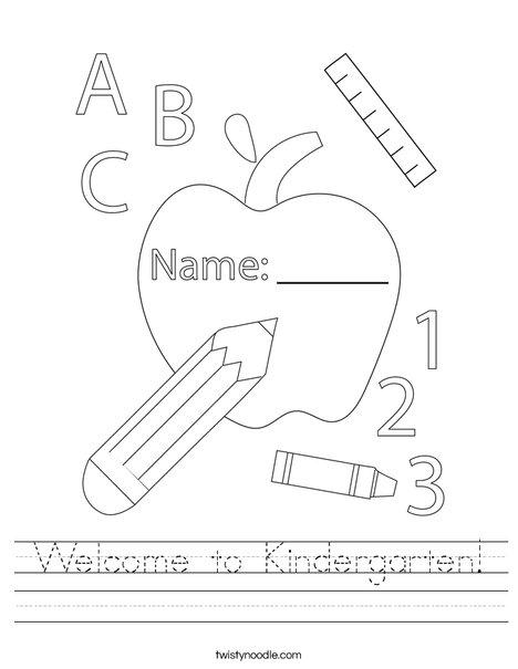 Welcome To Kindergarten Worksheet - Twisty Noodle