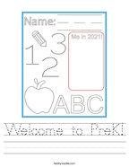 Welcome to PreK Handwriting Sheet